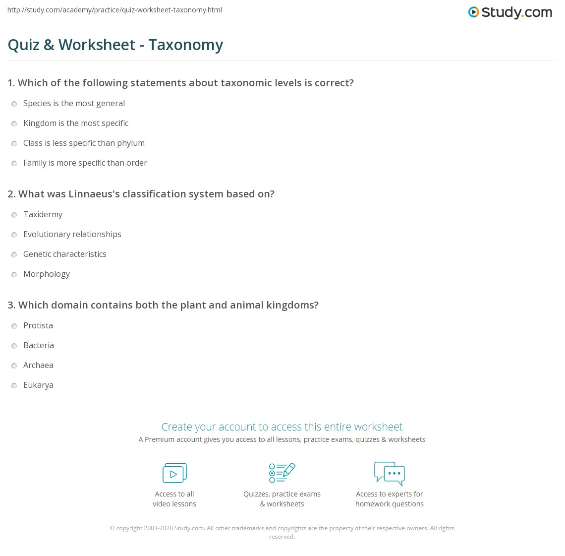 Quiz Worksheet Taxonomy – Taxonomy Classification Worksheet