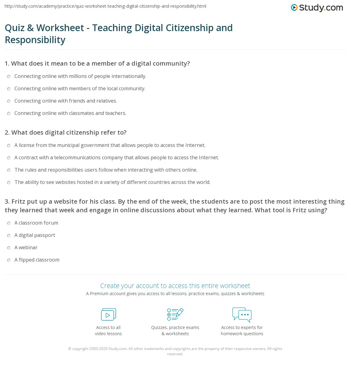 Printables Citizenship Worksheets quiz worksheet teaching digital citizenship and responsibility print responsible use of technology worksheet