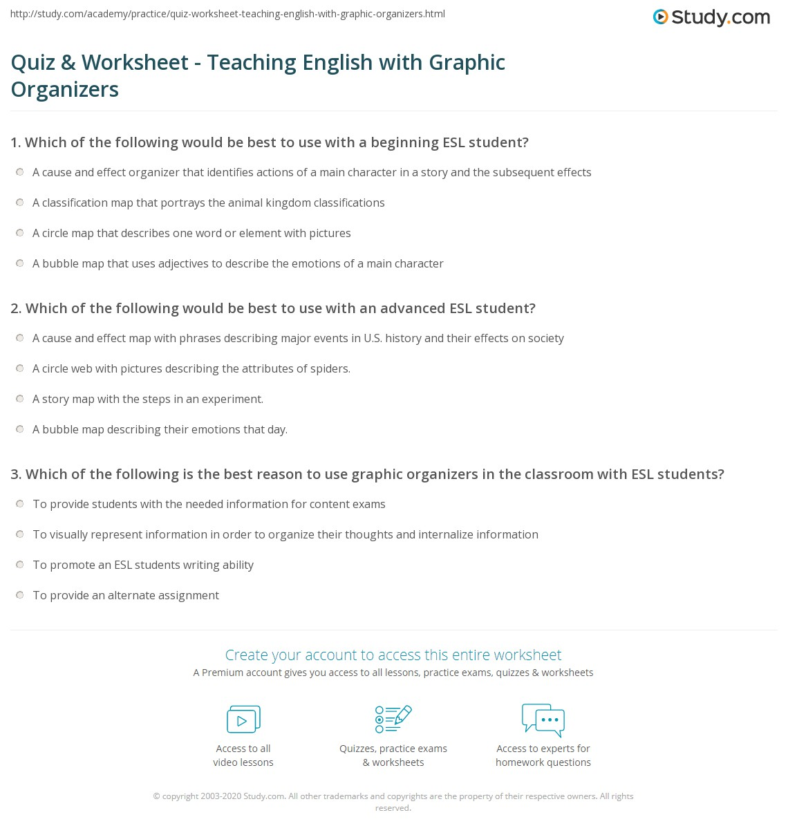 Quiz Worksheet Teaching English with Graphic Organizers – Beginner Esl Worksheets