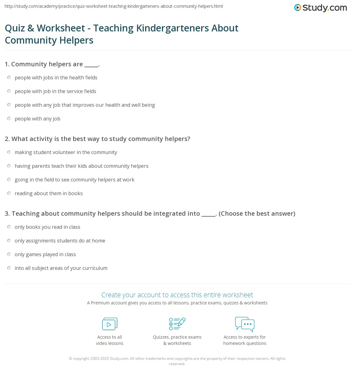 Quiz Worksheet Teaching Kindergarteners About Community – Community Helpers Worksheet Kindergarten