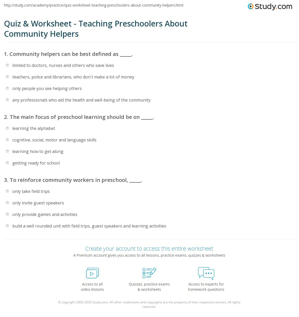 Quiz Worksheet Teaching Preschoolers About Community Helpers – Community Workers Worksheets