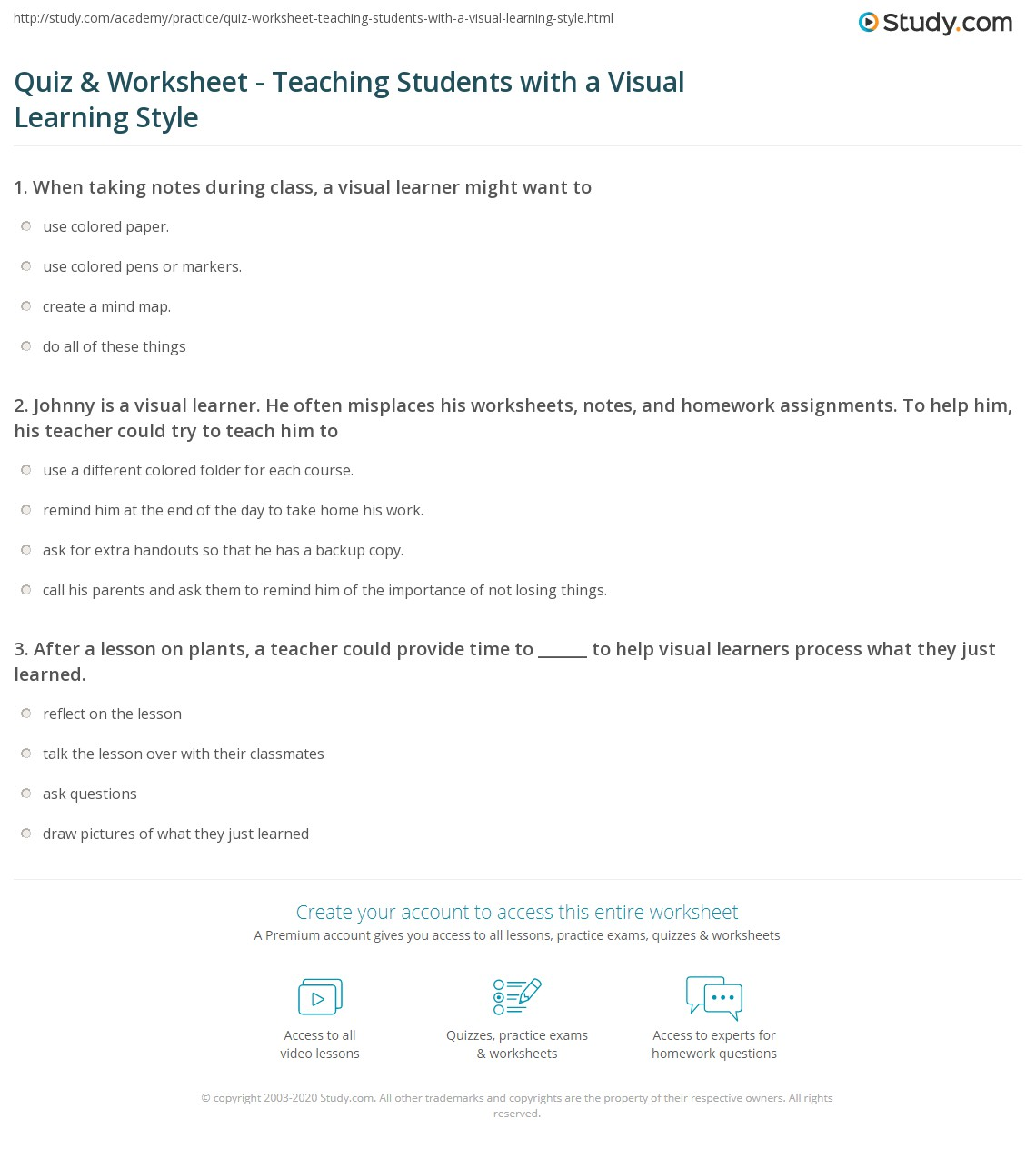 Quiz Worksheet Teaching Students with a Visual Learning Style – Visual Tracking Worksheets
