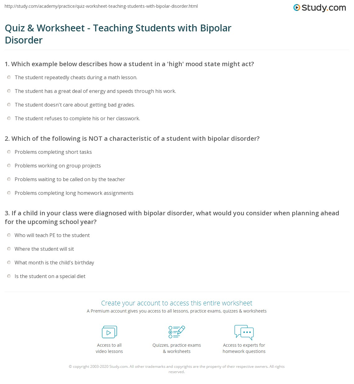 Worksheet Bipolar Disorder Worksheets quiz worksheet teaching students with bipolar disorder study com print worksheet