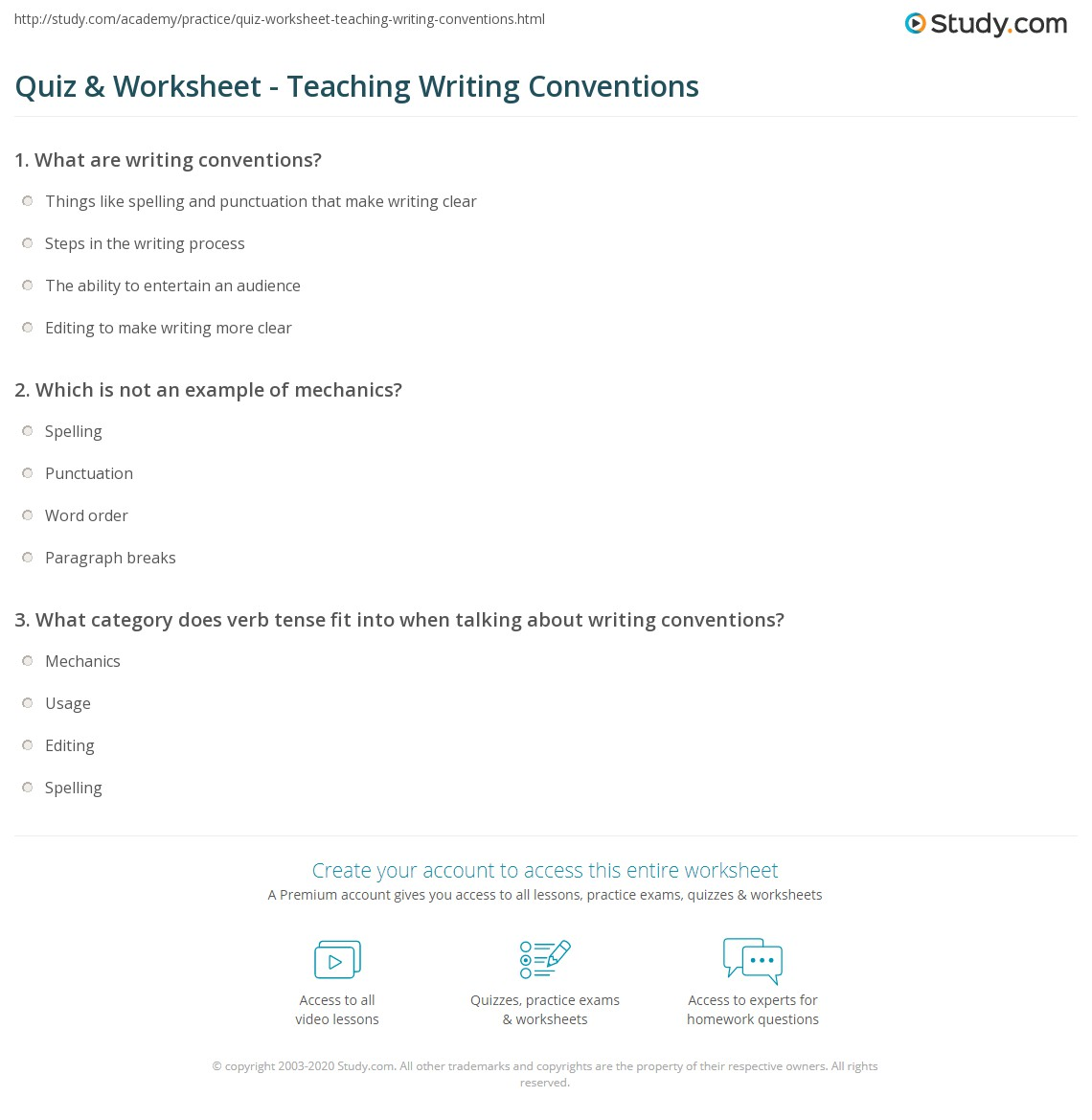 Quiz Worksheet Teaching Writing Conventions – Writing Conventions Worksheets