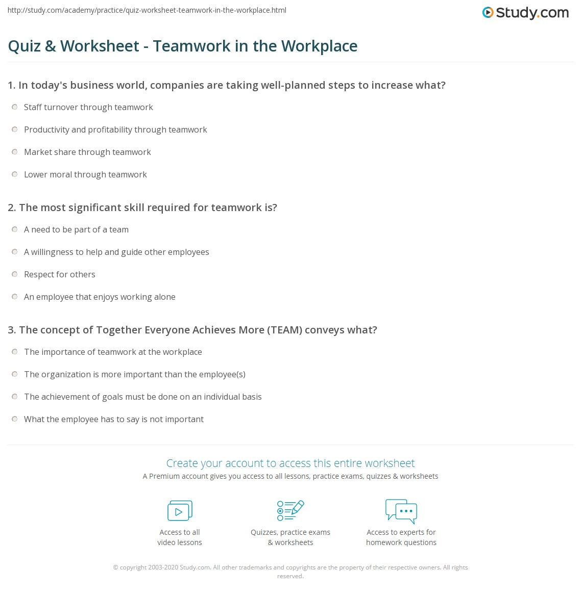 quiz worksheet teamwork in the workplace com print teamwork skills in the workplace definition examples worksheet