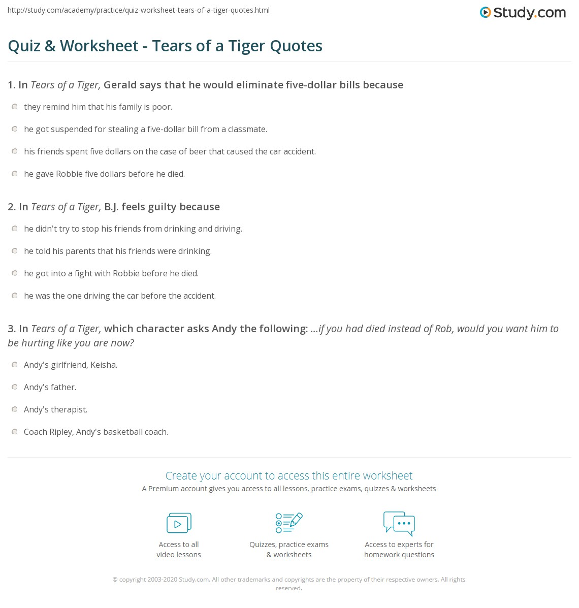 tears of a tiger worksheets delibertad quiz worksheet tears of a tiger quotes study com