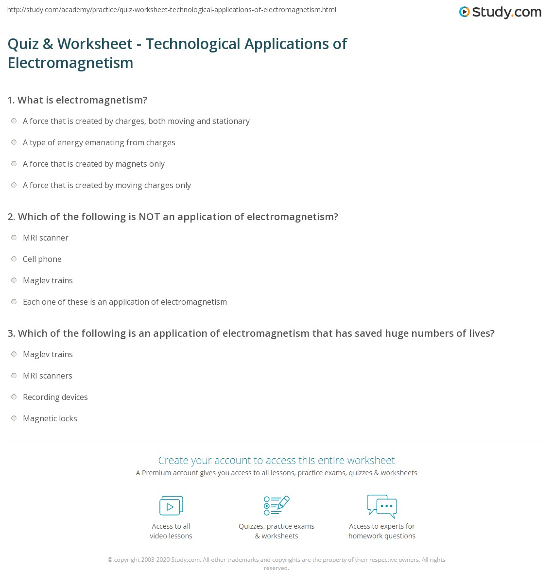 {Quiz Worksheet Technological Applications of Electromagnetism – Electromagnetism Worksheet