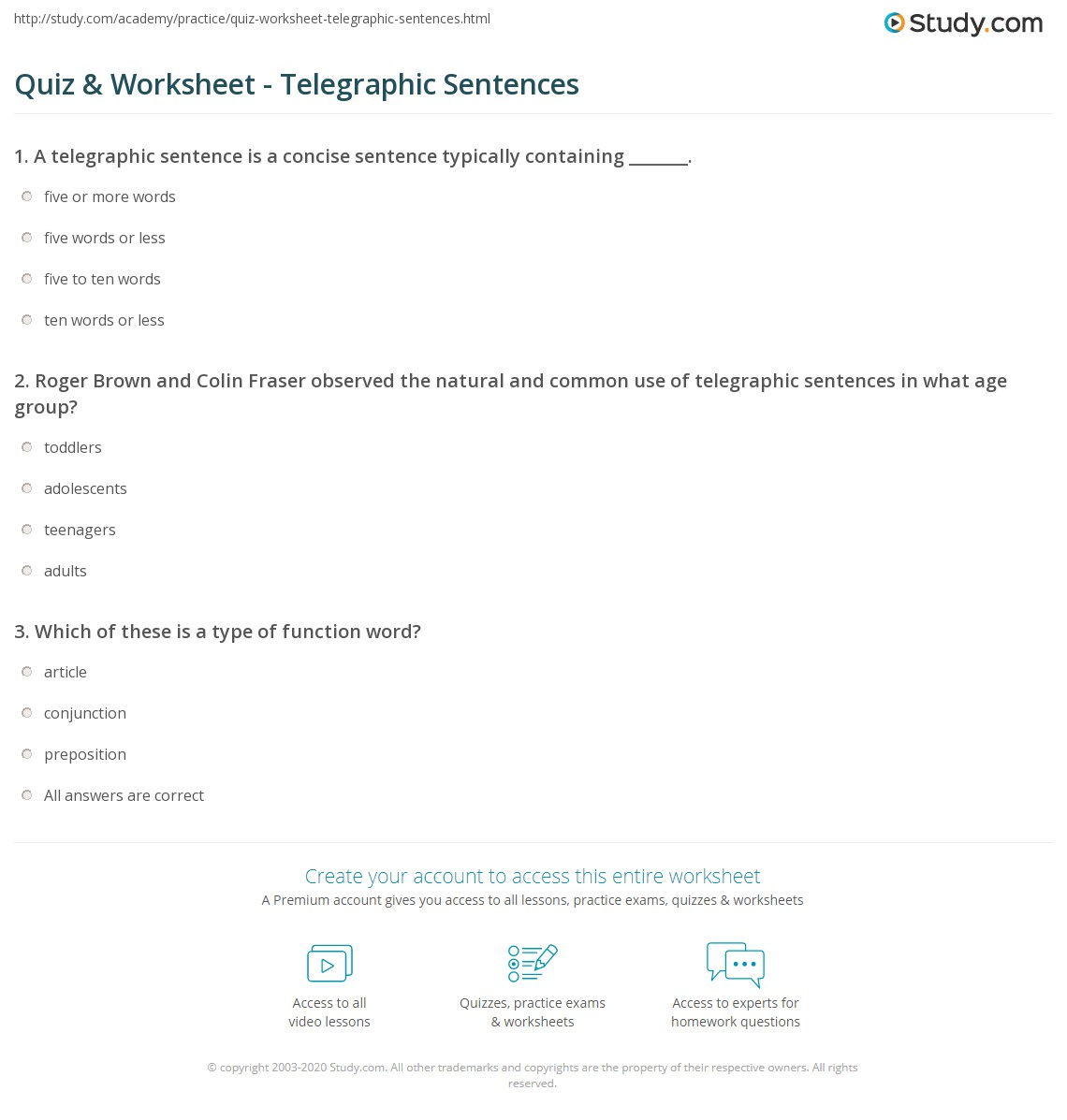 Print Telegraphic Sentence: Definition & Examples Worksheet