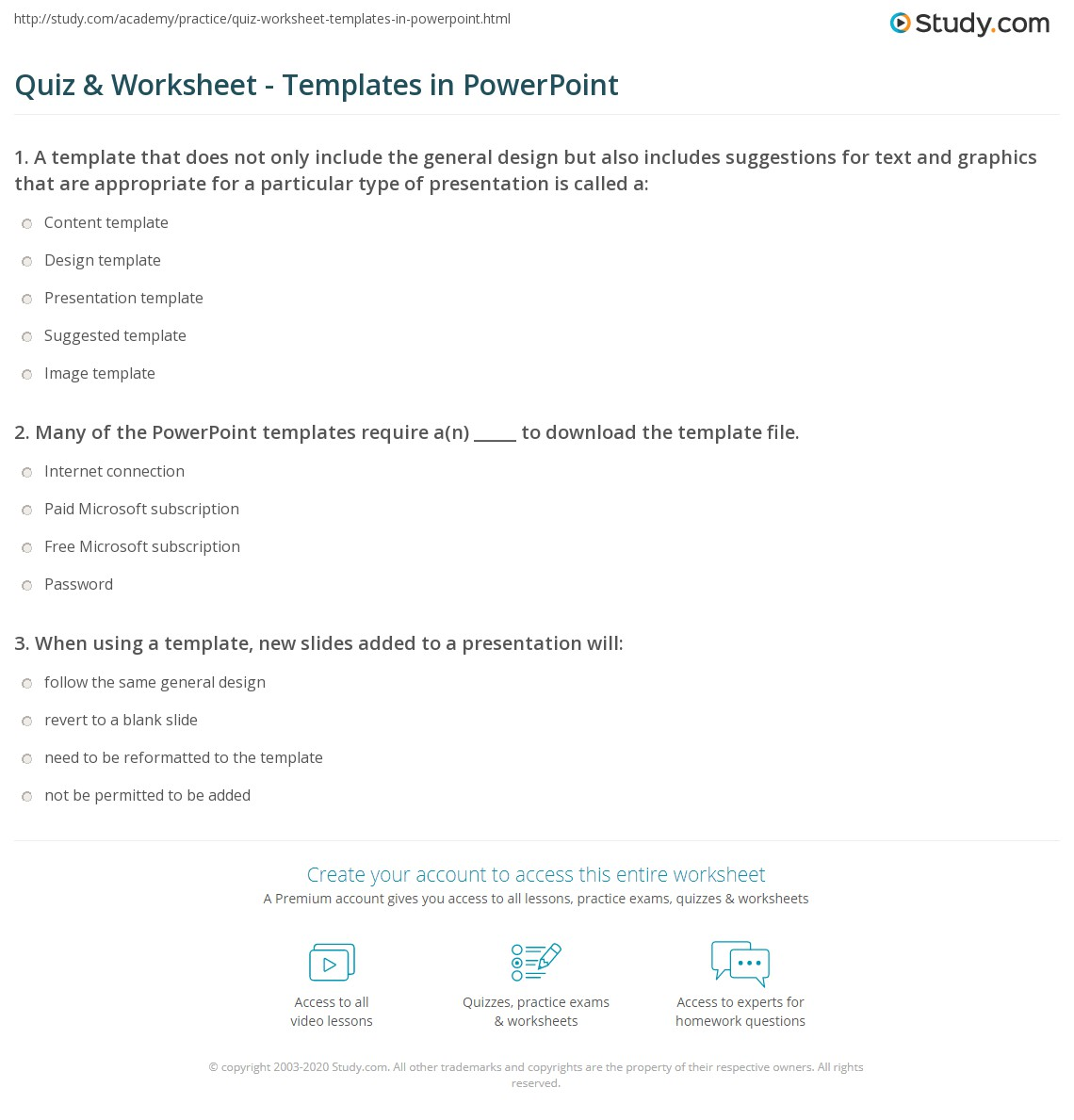 Quiz & Worksheet - Templates in PowerPoint | Study.com