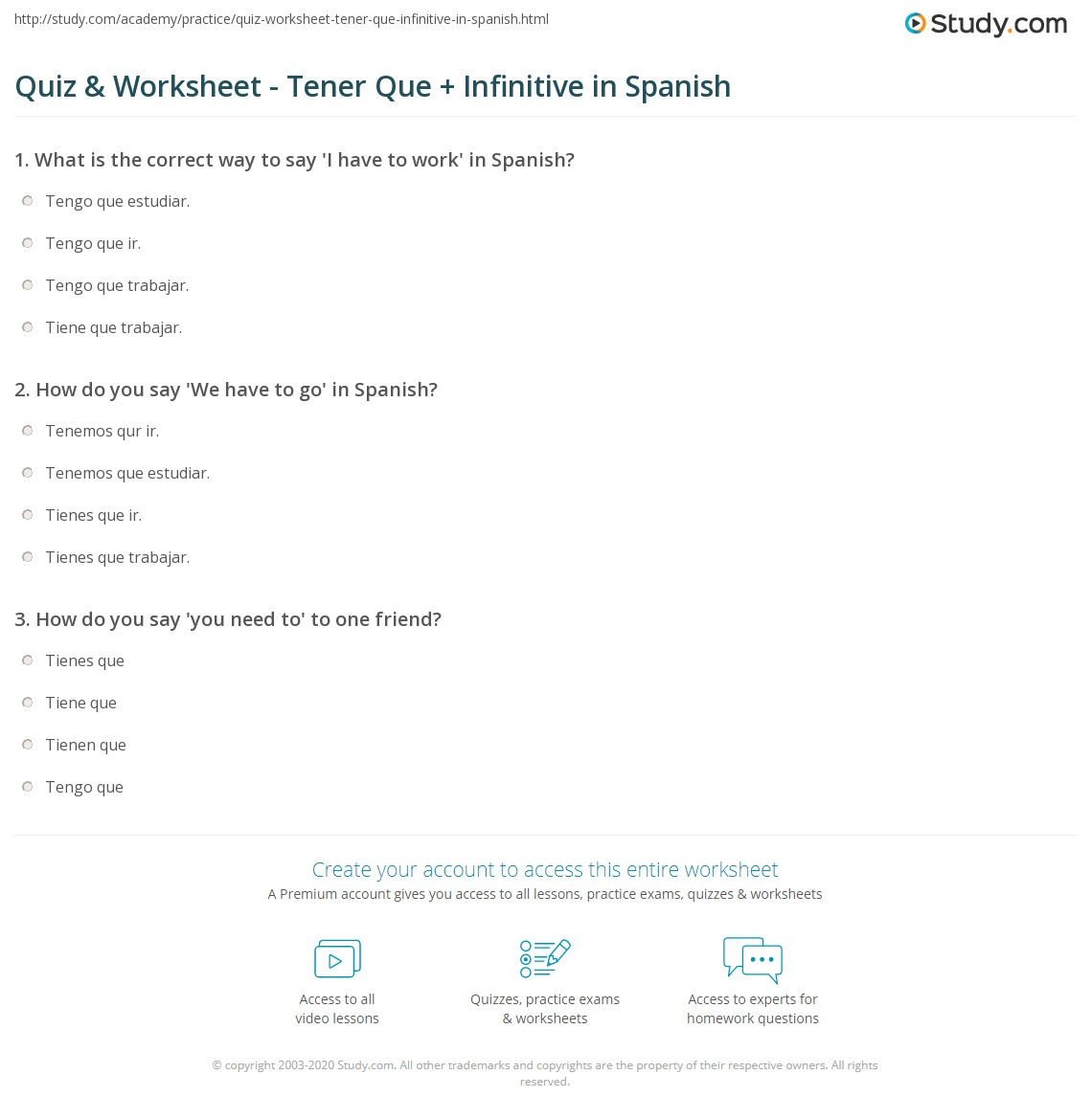 {Quiz Worksheet Tener Que Infinitive in Spanish – Tener Que Worksheet