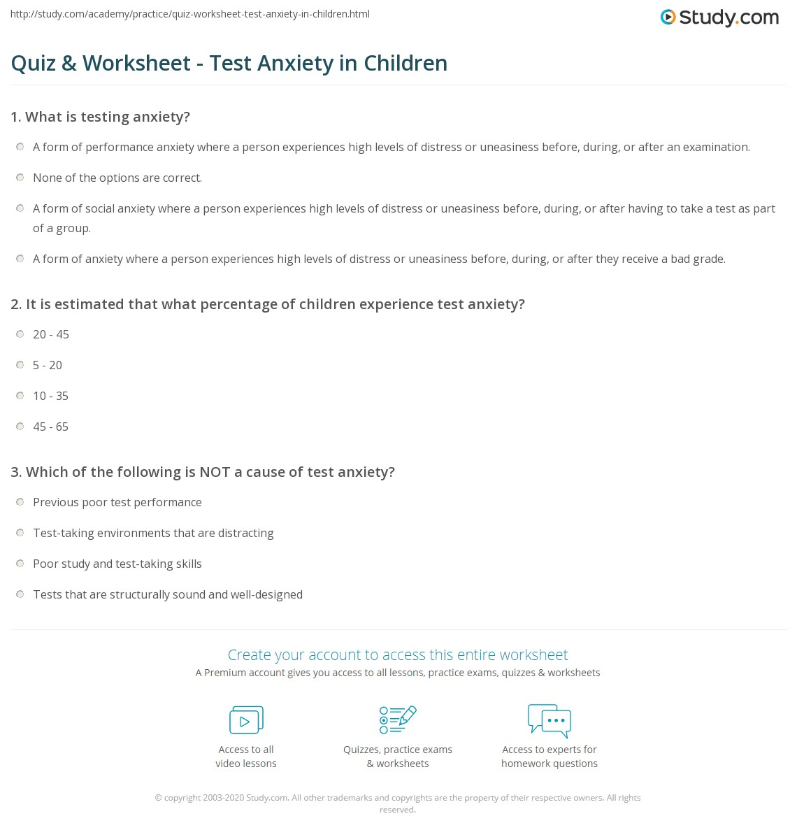 Printables Test Anxiety Worksheets quiz worksheet test anxiety in children study com print what is definition research causes worksheet