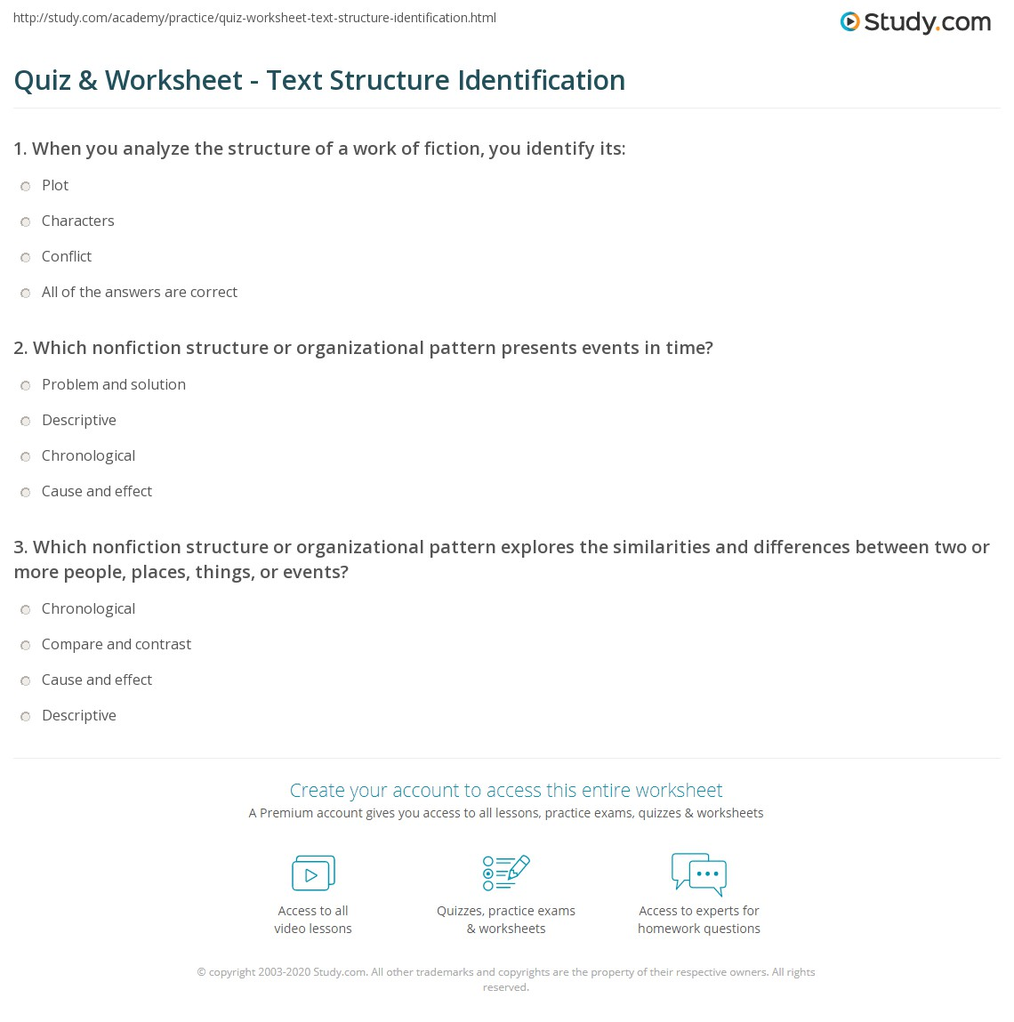 Uncategorized Text Structure Practice Worksheets quiz worksheet text structure identification study com print identifying the of a worksheet