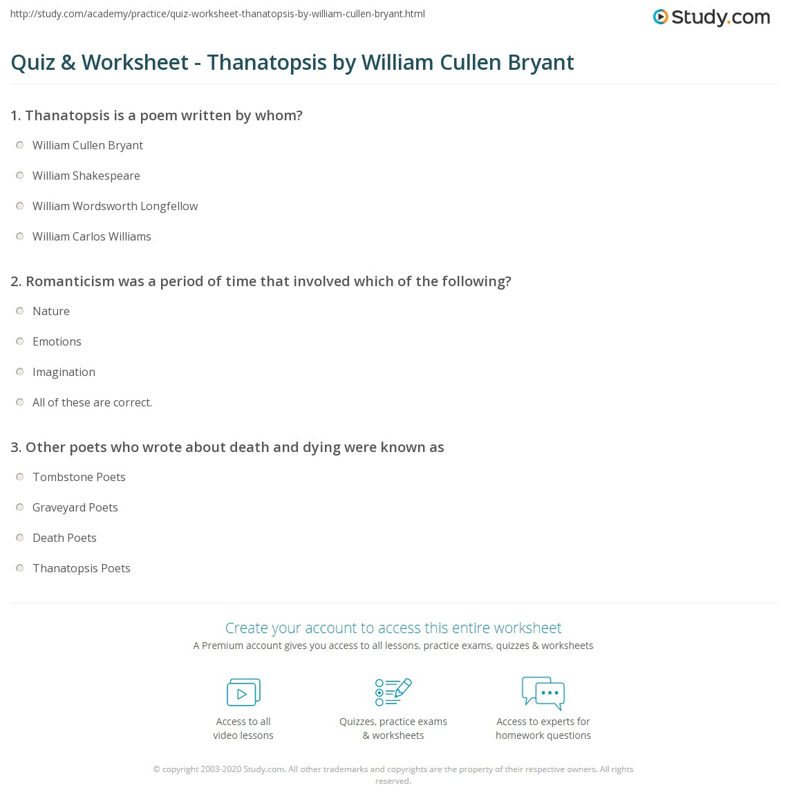 the analysis on thanatopsis by william In this lesson, we will be considering a poem by william cullen bryant entitled ' thanatopsis' we will summarize the poem and analyze it for.