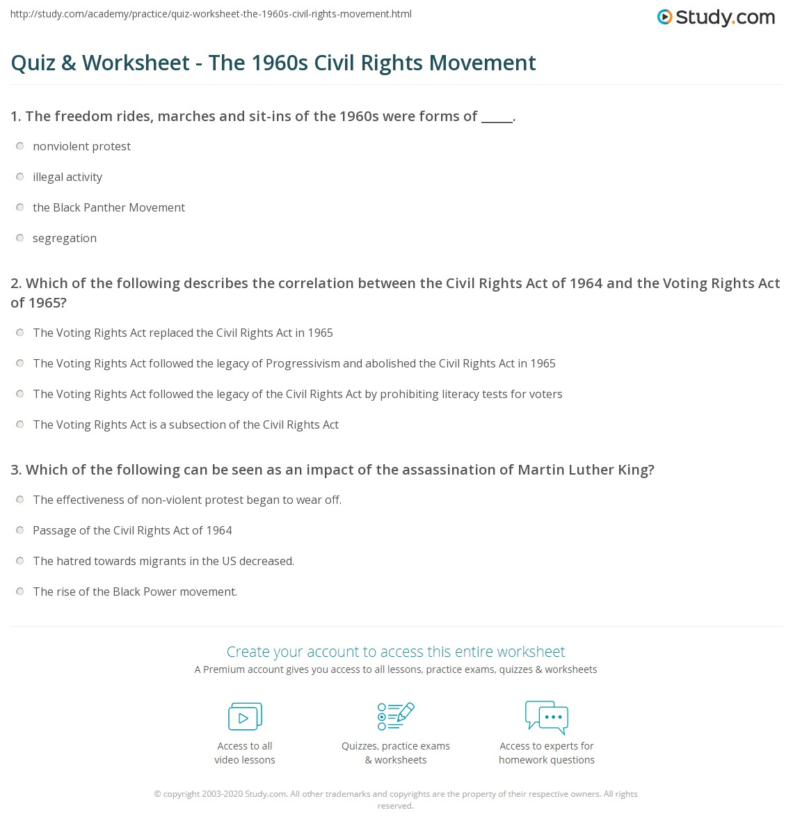 Quiz Worksheet The 1960s Civil Rights Movement – Civil Rights Worksheet