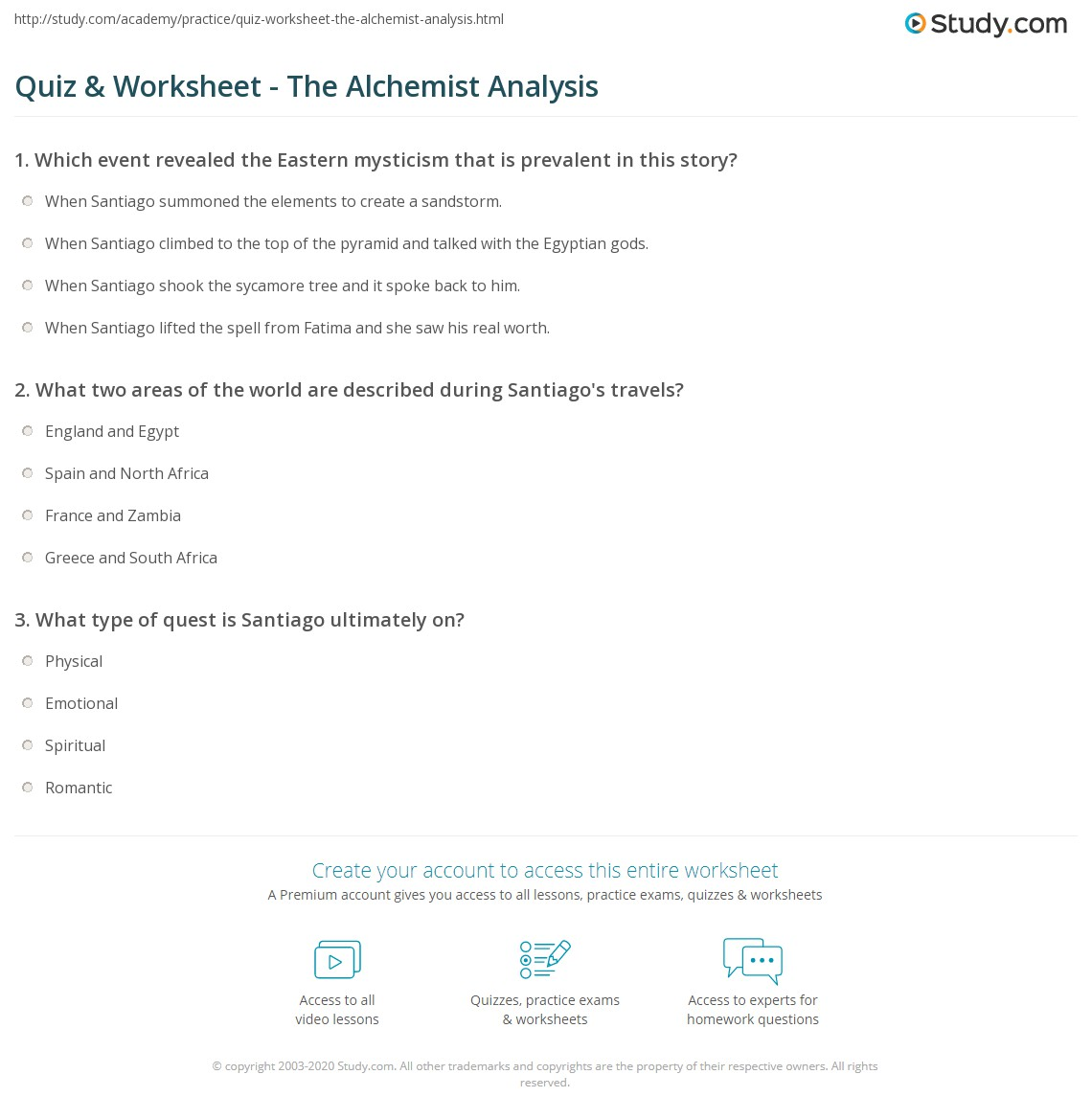 quiz worksheet the alchemist analysis com print the alchemist analysis worksheet