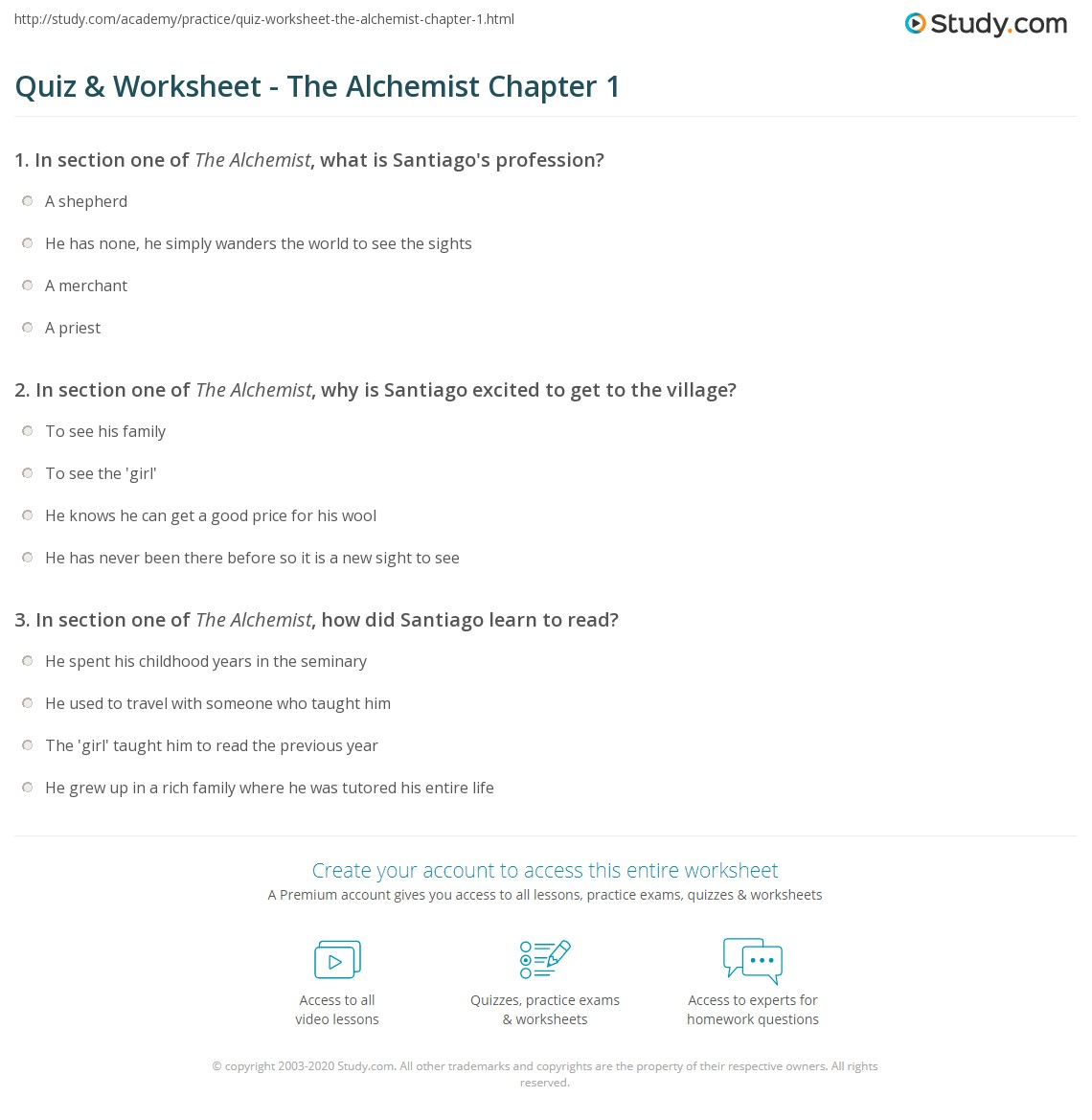 quiz worksheet the alchemist chapter com print the alchemist chapter 1 summary worksheet
