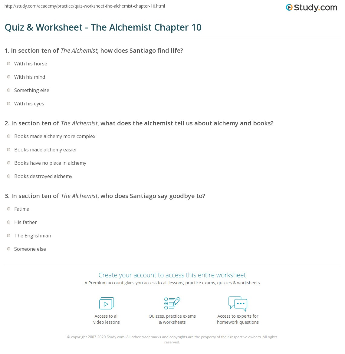 quiz worksheet the alchemist chapter com print the alchemist chapter 10 summary worksheet