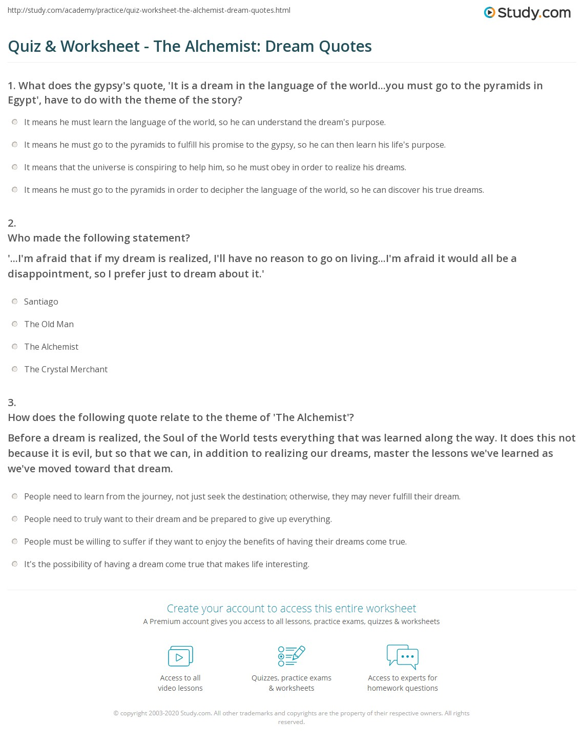 the alchemist language of the world atelier ayesha the alchemist  quiz worksheet the alchemist dream quotes com print quotes about dreams in the alchemist worksheet