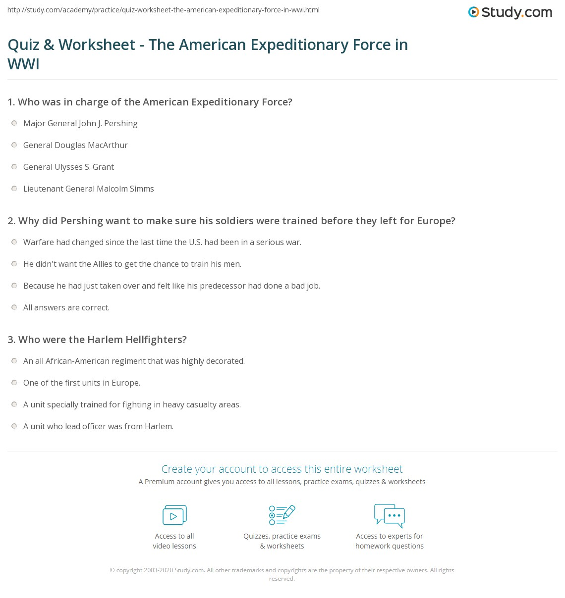 Quiz Worksheet The American Expeditionary Force in WWI – World War 1 Worksheets