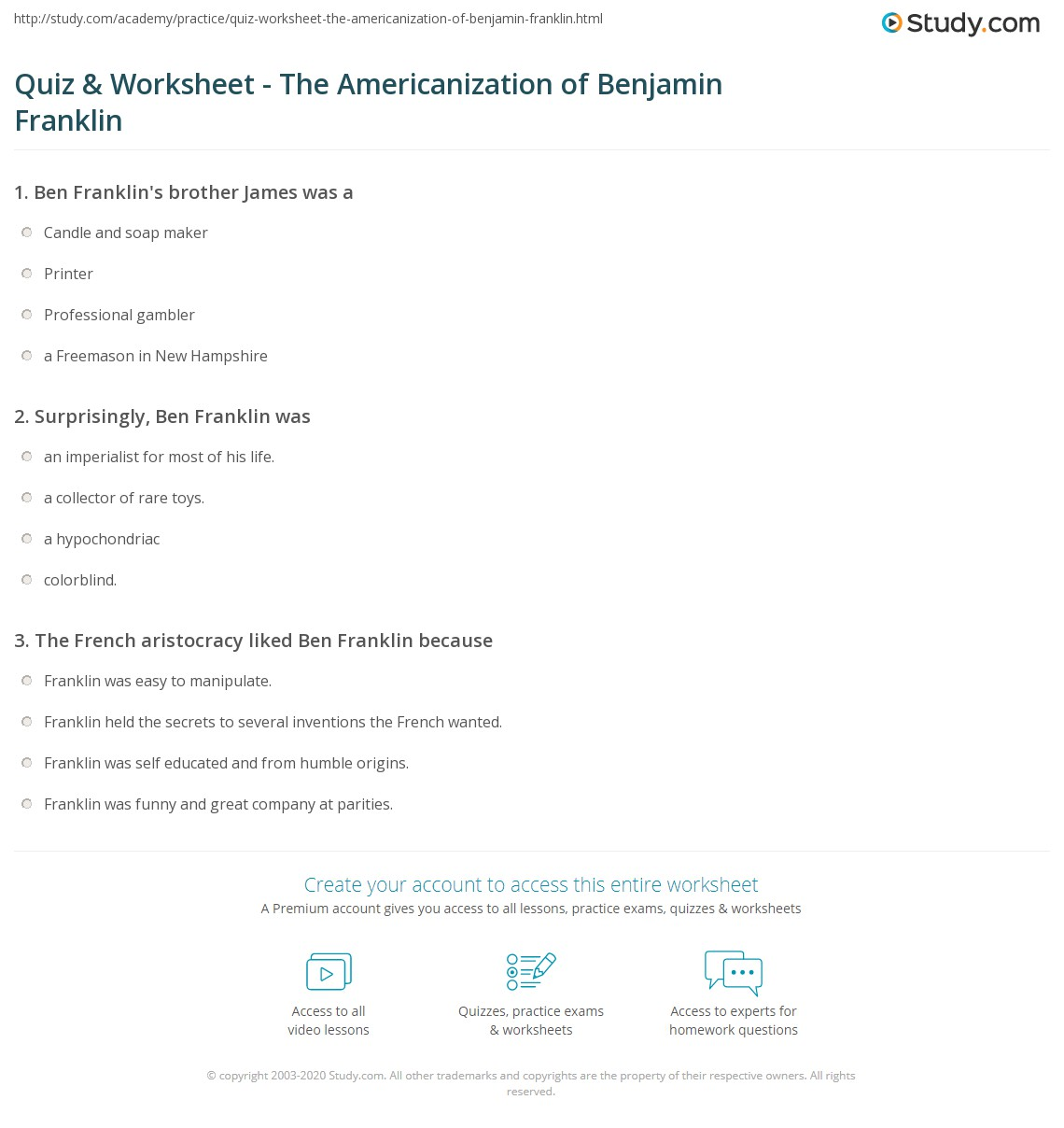 quiz worksheet the americanization of benjamin franklin print the americanization of benjamin franklin summary analysis worksheet