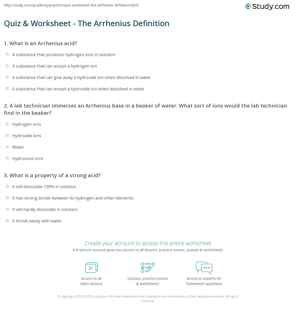 Quiz Worksheet The Arrhenius Definition – Acid and Bases Worksheet Answer Key