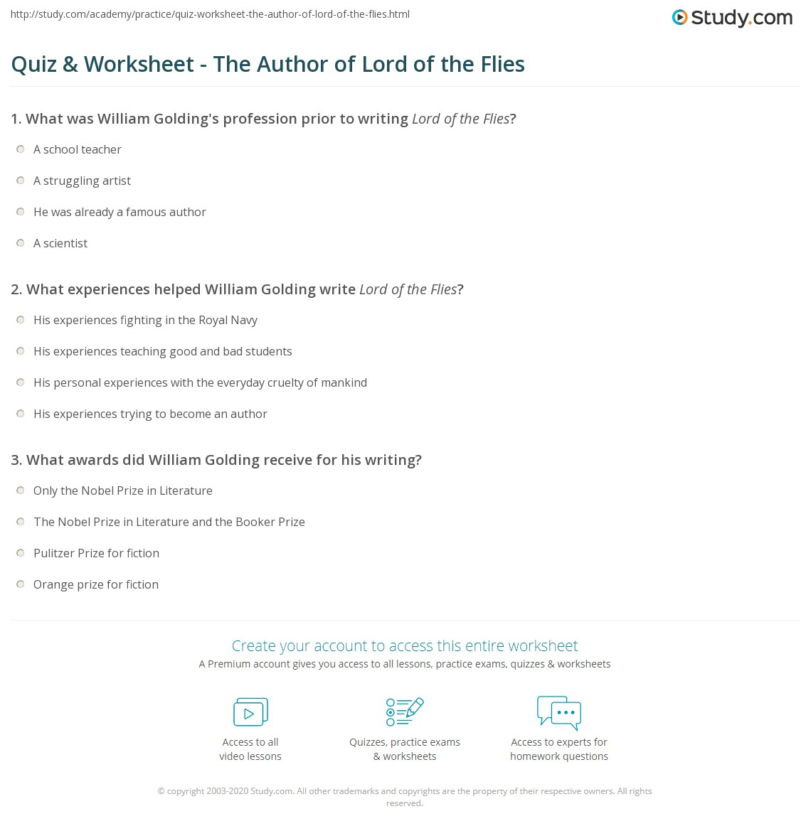 quiz worksheet the author of lord of the flies com print who wrote lord of the flies william golding biography works worksheet
