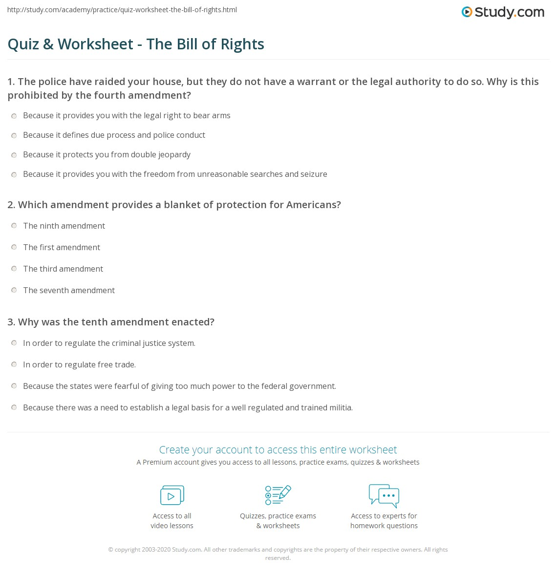 Quiz Worksheet The Bill of Rights – Bill of Rights Worksheets