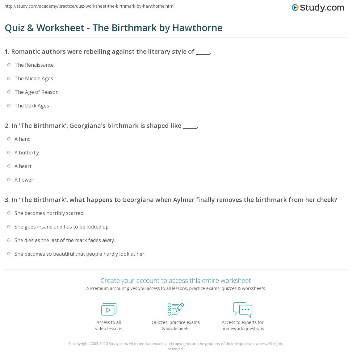 quiz worksheet the birthmark by hawthorne com print the birthmark by nathaniel hawthorne summary analysis symbolism worksheet
