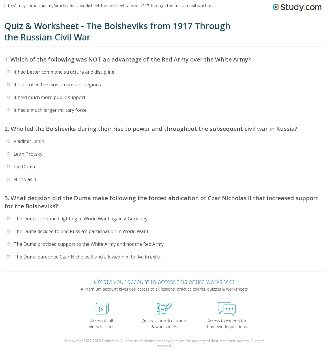 quiz worksheet the bolsheviks from through the russian print the bolsheviks triumph battles events the shift of power worksheet