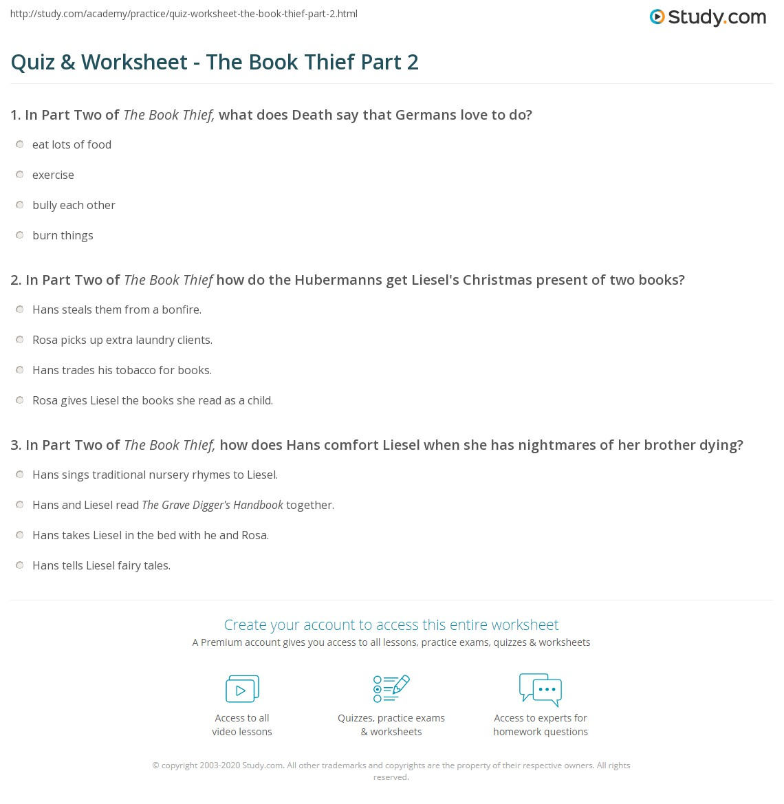 quiz worksheet the book thief part com print the book thief part 2 summary worksheet
