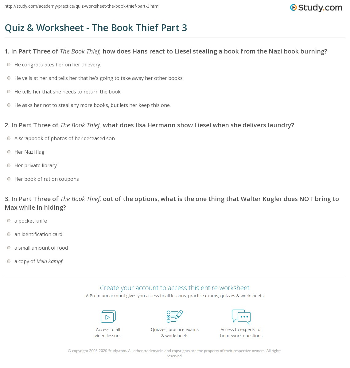 quiz worksheet the book thief part com in part three of the book thief what does ilsa hermann show liesel when she delivers laundry