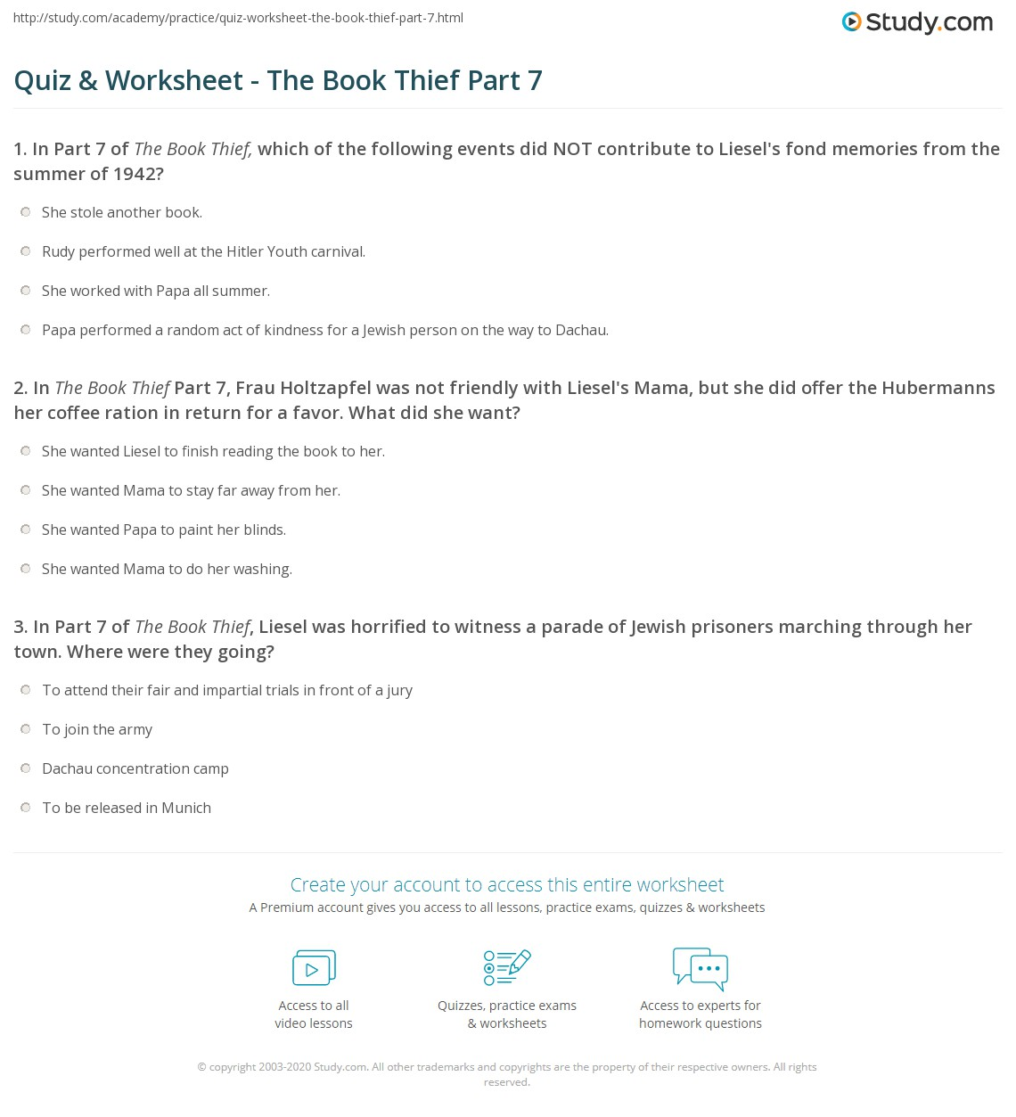 quiz worksheet the book thief part com print the book thief part 7 summary worksheet
