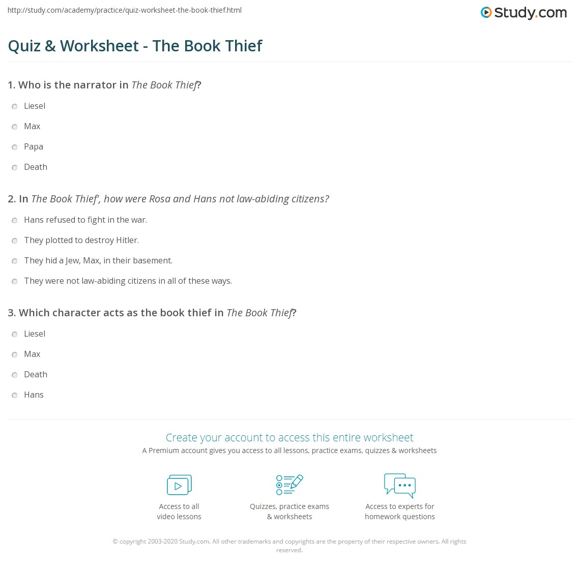 quiz worksheet the book thief com print the book thief by zusak summary analysis worksheet
