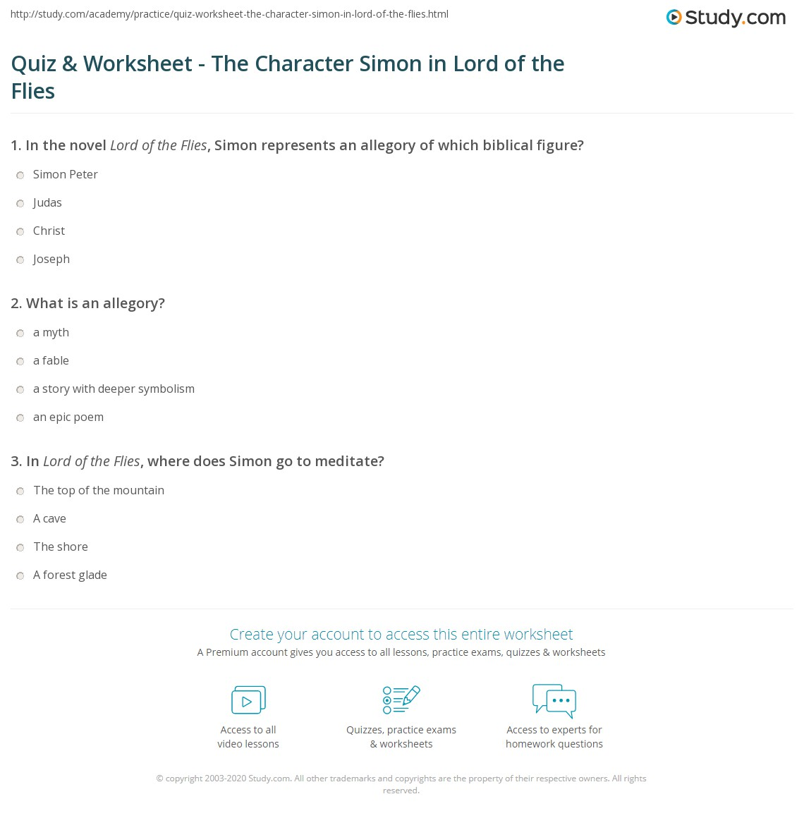 Worksheets Bible Character Study Worksheet quiz worksheet the character simon in lord of flies print analysis quotes worksheet