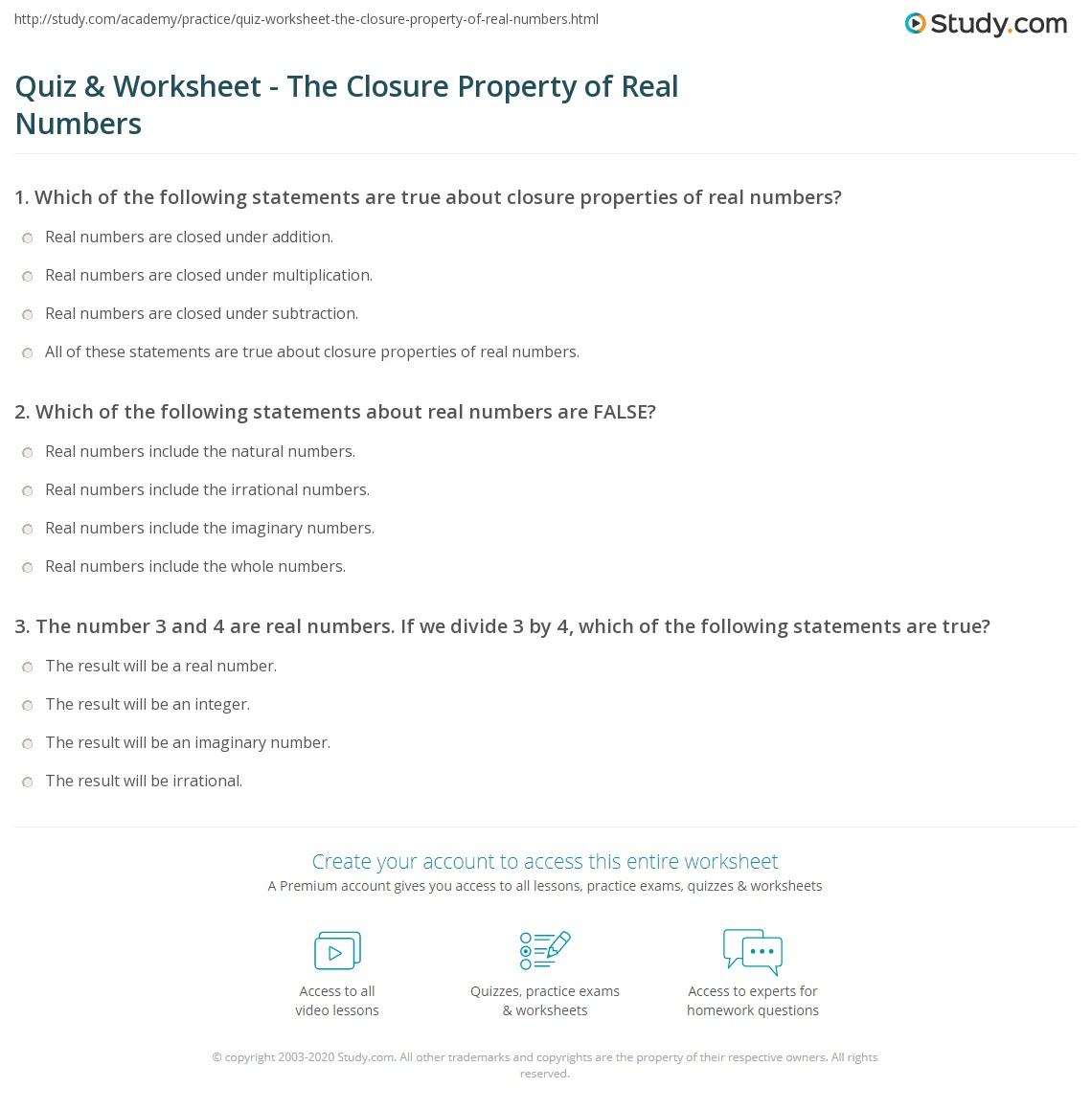 Quiz Worksheet The Closure Property of Real Numbers – Number Properties Worksheet