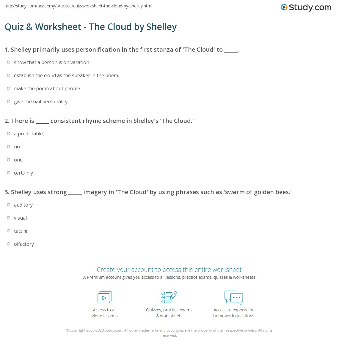 Quiz Worksheet The Cloud by Shelley – Cloud Worksheets