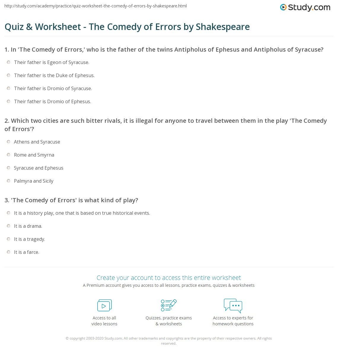 Comedy Of Errors Worksheet : Quiz worksheet the comedy of errors by shakespeare