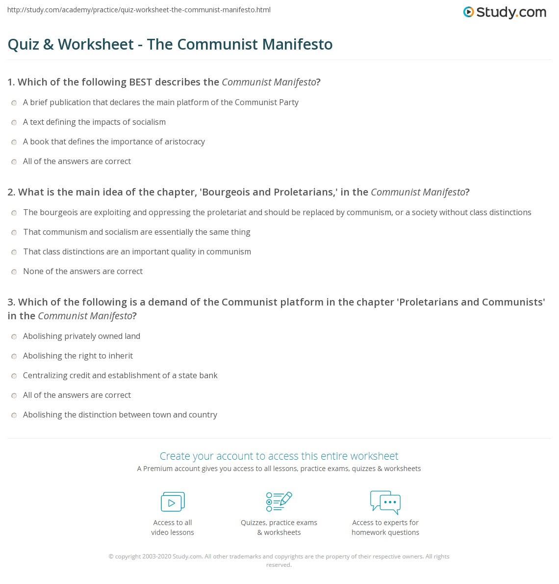 quiz worksheet the communist manifesto com print the communist manifesto summary analysis worksheet