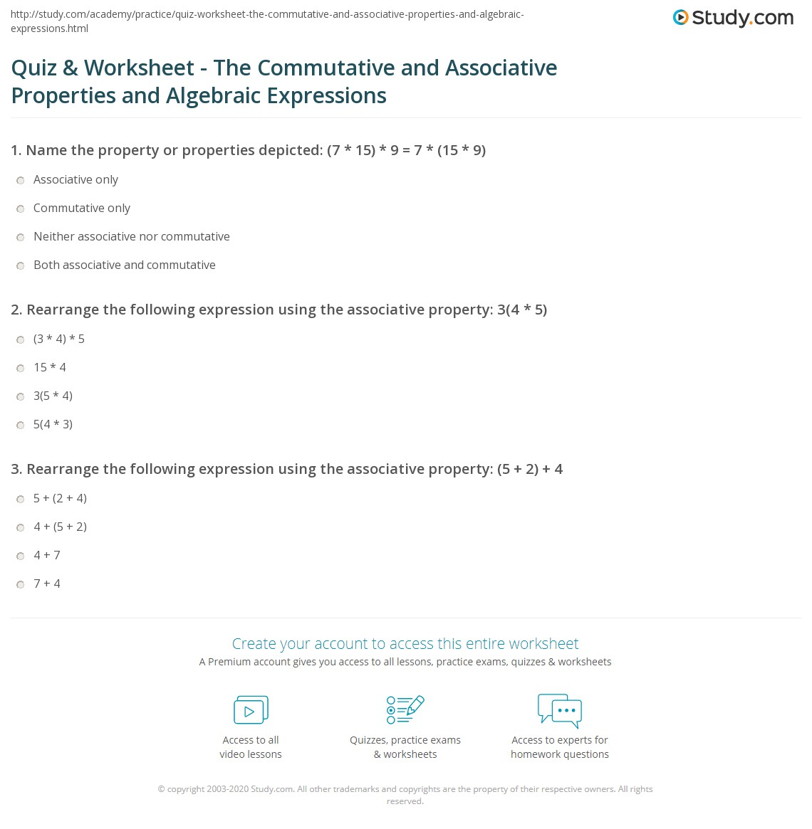 Quiz Worksheet The Commutative and Associative Properties and – Algebra Properties Worksheet