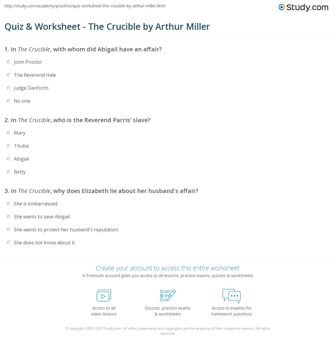 quiz worksheet the crucible by arthur miller com print the crucible by arthur miller characters themes analysis worksheet