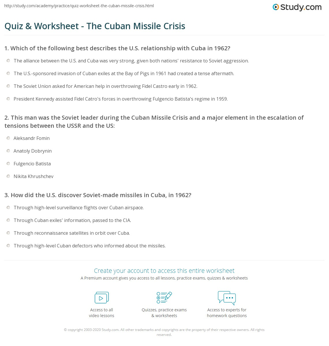 Quiz worksheet the cuban missile crisis study print the cuban missile crisis definition facts timeline worksheet robcynllc Image collections