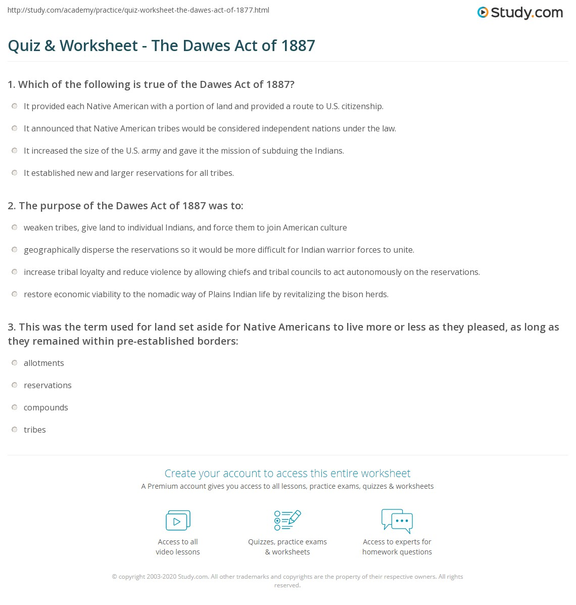 Quiz & Worksheet - The Dawes Act of 1887 | Study.com