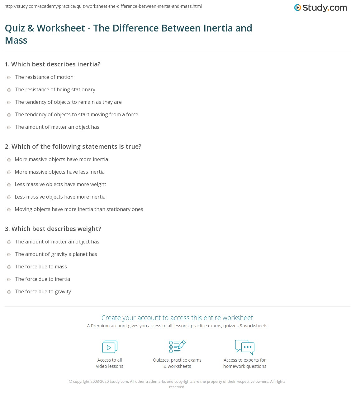 Quiz Worksheet The Difference Between Inertia and Mass – Mass Worksheet