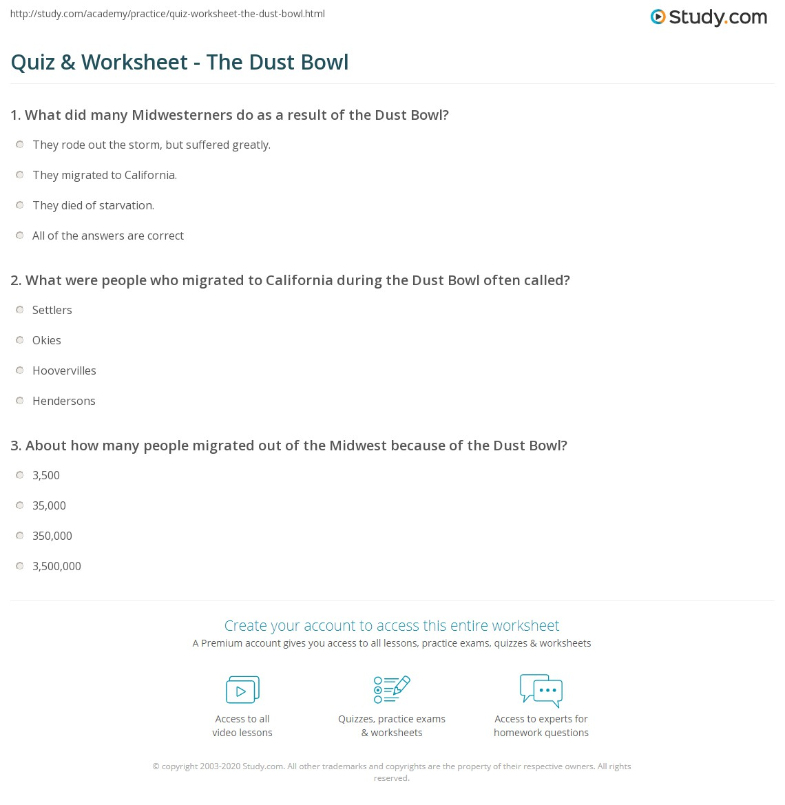 Quiz & Worksheet - The Dust Bowl | Study.com