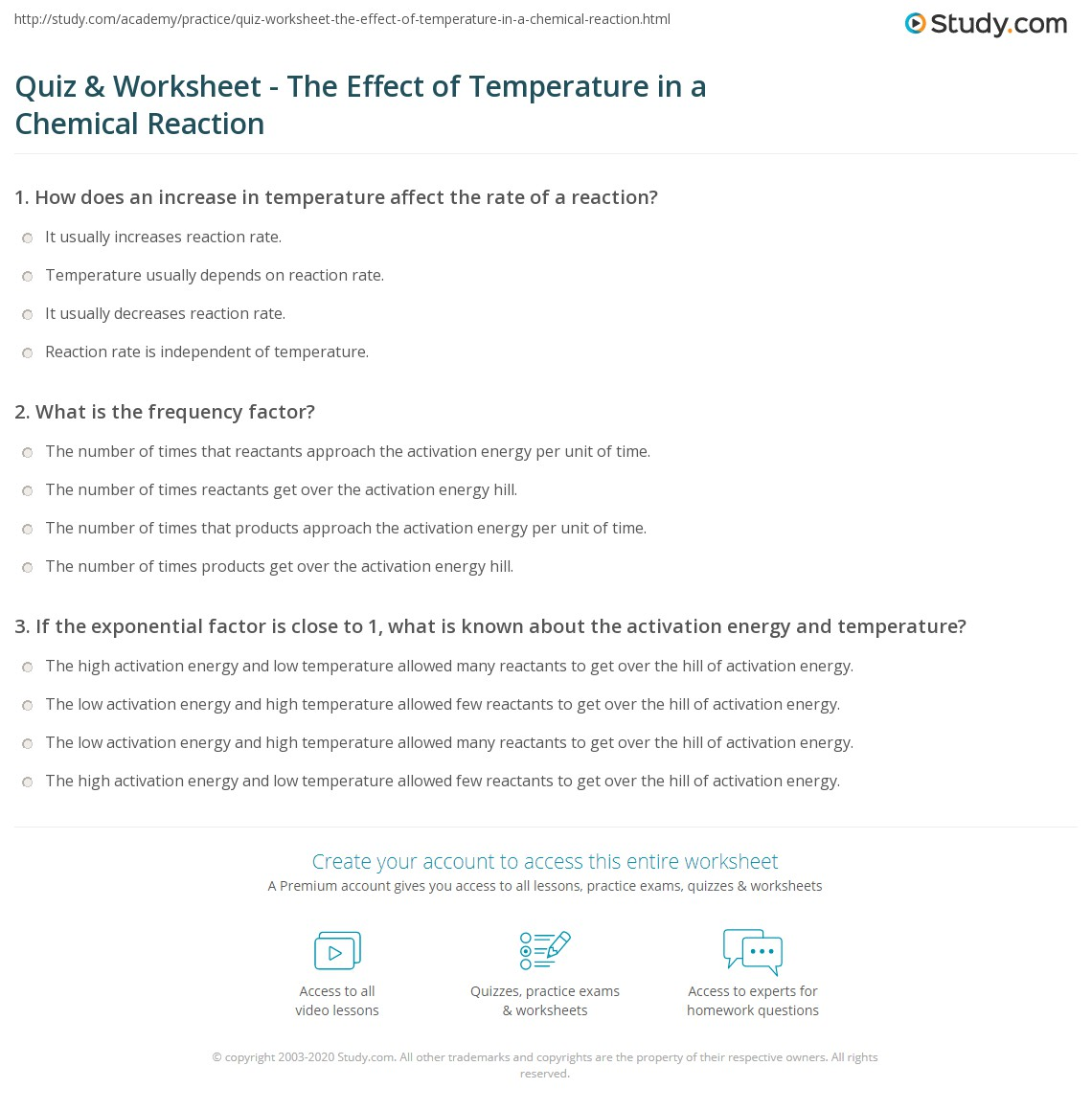 Quiz Worksheet The Effect of Temperature in a Chemical – Rates of Reaction Worksheet