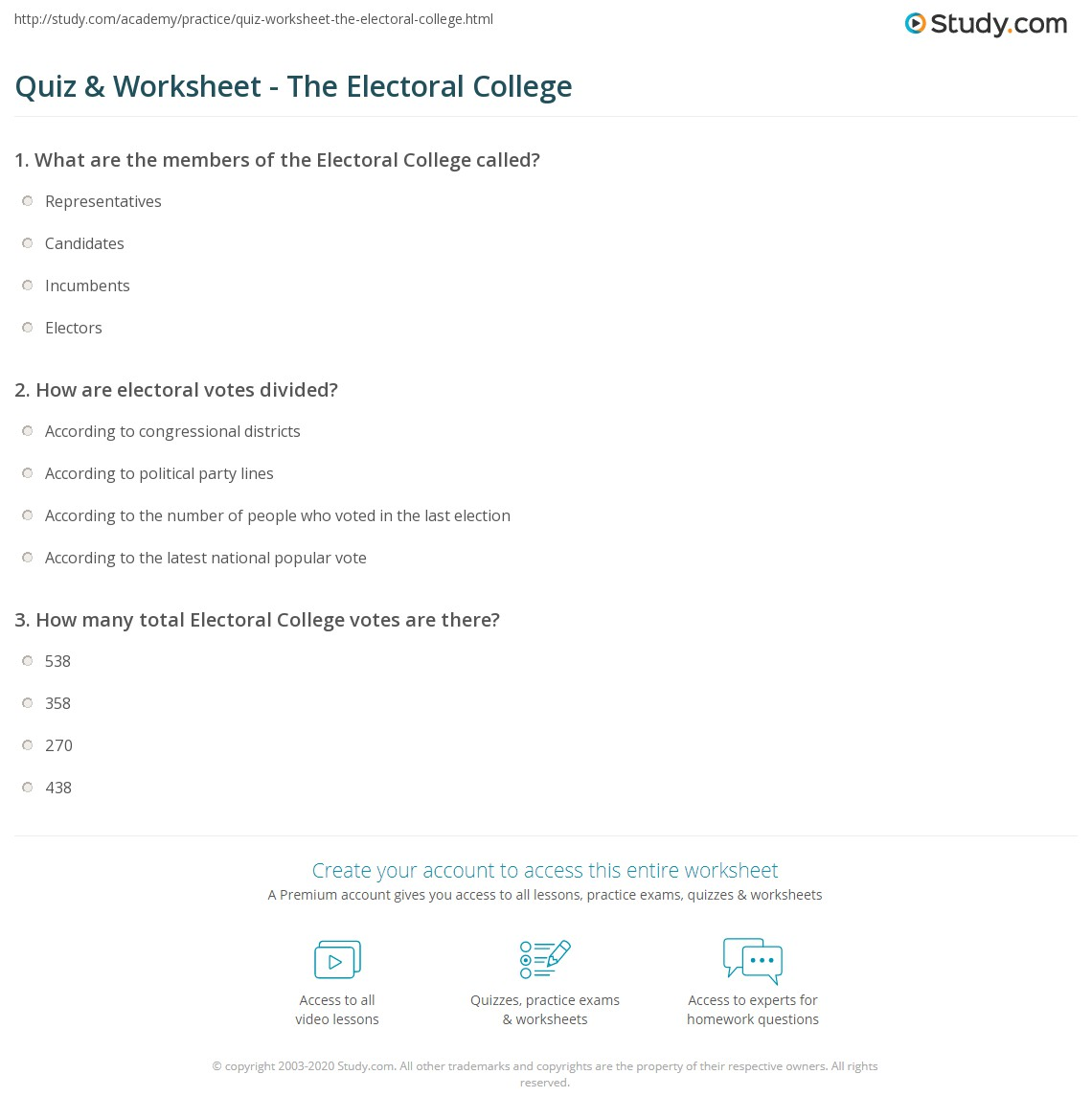Quiz Worksheet The Electoral College – Electoral College Worksheet