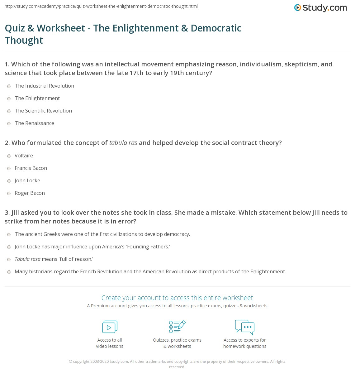 Worksheets Enlightenment Worksheet quiz worksheet the enlightenment democratic thought study com print influence of on worksheet