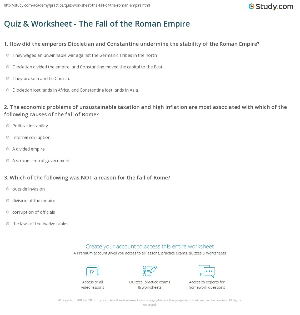 Quiz Worksheet The Fall of the Roman Empire – Roman Empire Worksheets
