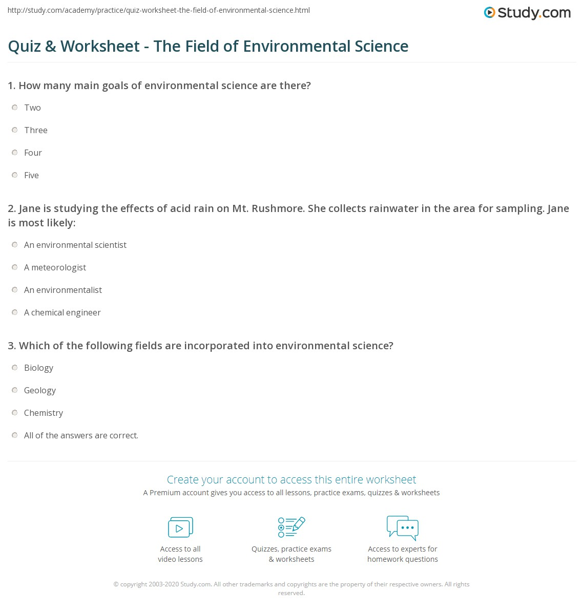 Worksheet Environmental Science Worksheets quiz worksheet the field of environmental science study com print what is definition and scope worksheet