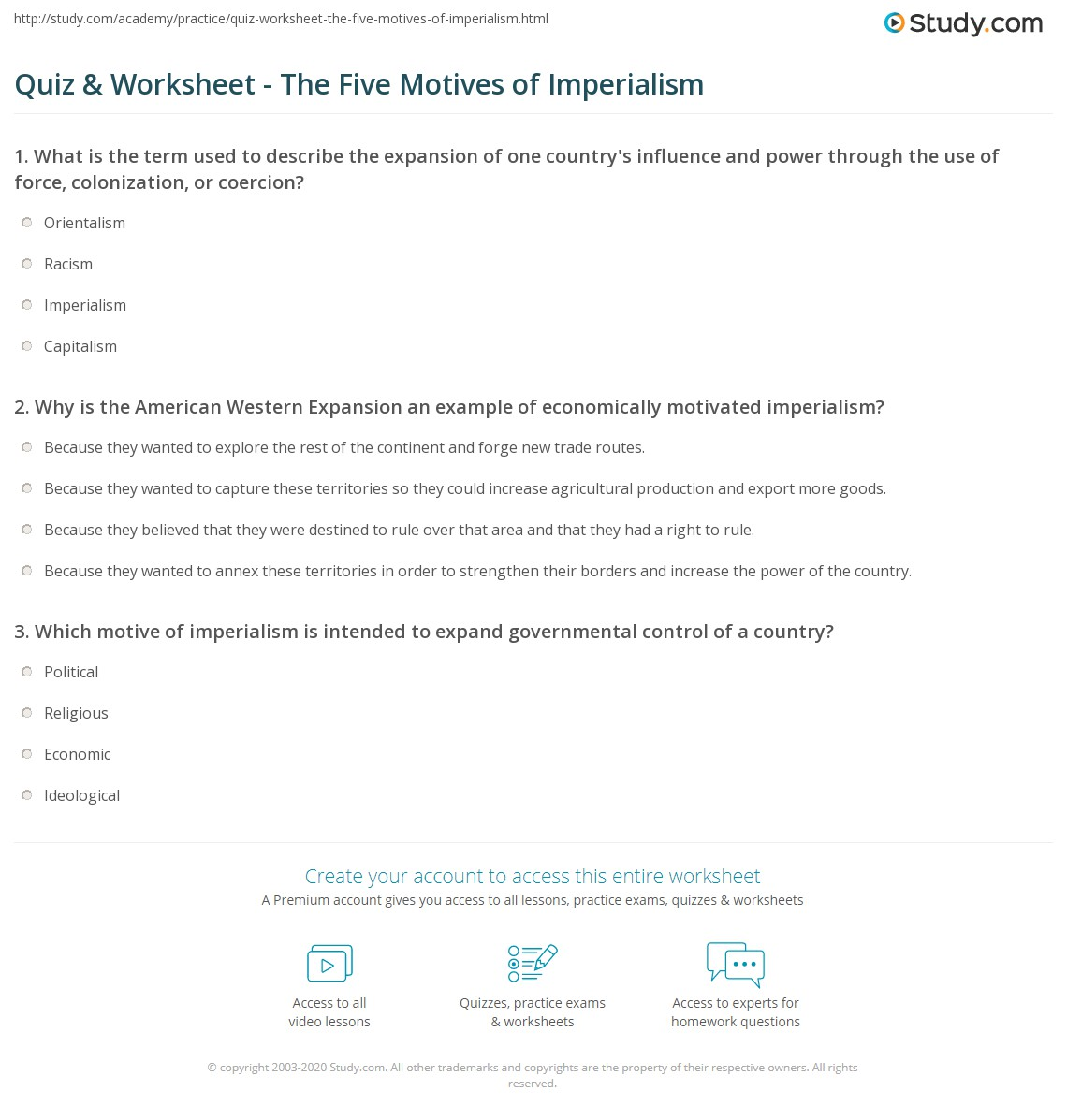 quiz worksheet the five motives of imperialism com print the five motives of imperialism worksheet
